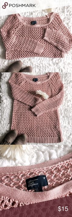 American Eagle Vintage Rose Crochet Sweater As fall rolls around, get comfy & cozy with this beautiful crocheted sweater from American Eagle! It's blush pink color is super trendy right now in the fashion kingdom & this is the perfect sweater to rock it in!                                   NWOT. Size Large. American Eagle Outfitters Sweaters Crew & Scoop Necks