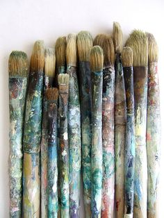 While this is a pretty picture, I would never let my brushes get to this sad state!