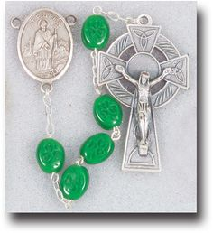 Reginas Catholic Gifts - Flat Glass Shamrock Rosary, $16.95 (http://www.reginascatholicgifts.com/flat-glass-shamrock-rosary/)