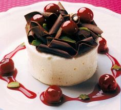 White Chocolate Parfait with Flambéed Cherries