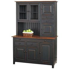 Amish Pine Hoosier Hutch Cupboard Quick Ship Full of charm and solid wood storage, this Pine Hoosier Hutch is pretty and top notch quality. Customize with choice of stain and features. #hutches #hutch