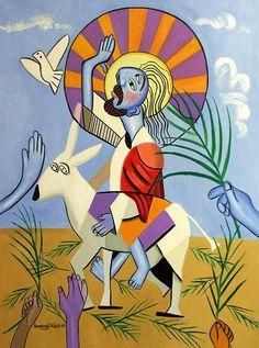 Voici l'agneau de Dieu Jesus Sauveur roi Holy Anthony par falboart