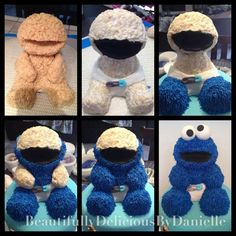22 Ideas Cookies Monster Cake Tutorial For 2019 Baby 1st Birthday, Birthday Cookies, 1st Boy Birthday, Birthday Ideas, Elmo Cookies, Elmo Cake, Cake Cookies, Cookie Monster Cakes, Monster Cupcakes