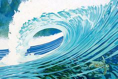 Mark Daniells | COTW Surf Artist- look in the lower right corner. It shows what is beneath the surface- a turtle