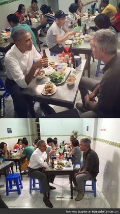 President Obama and Anthony Bourdain eating pho in Vietnam while no one around them cares - FunSubstance Thank You President Obama, Barack Obama Family, First Black President, Anthony Bordain, Barak And Michelle Obama, America Memes, Black Presidents, Black History Facts, Best Funny Pictures