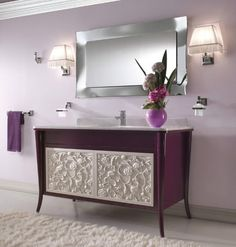 Contemporary bathroom vanity in mauve and grape