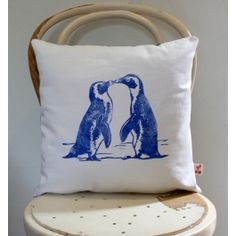 Kissing Penguins decorative scatter cushion cover in Cobalt blue on white Scatter Cushions, Throw Pillows, Cushion Covers, Cobalt Blue, Penguins, Reusable Tote Bags, Blue And White, Kissing, Prints