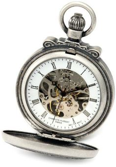 #antiquepocketwatches Charles-Hubert, Paris 3866-S Classic Collection Antiqued Finish Double Hunter Case Mechanical Pocket Watch Check https://www.carrywatches.com