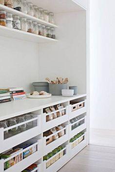Kitchen Pantry Storage, Pantry Organisation, Pantry Room, Kitchen Pantry Design, Home Decor Kitchen, Kitchen Organization, New Kitchen, Home Kitchens, Pantry Ideas