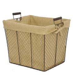 Shop Organizing Essentials 15x12 Wire Basket with Burlap Liner & Baskets & Basket Accessories at Joann.com