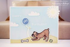 """Lawn Fawn - Critters at the Dog Park + coordinating dies, Hello Sunshine + coordinating dies, Harold's ABCs, Large Stitched Rectangle Stackables, Stitched Hillside Borders _ """"Happy 1st Birthday"""" Card by Yukari via Flickr - Photo Sharing!"""