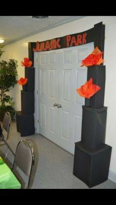 """WELCOME TO """"JurONYX"""" Park GATE Entrance! Used poster board, stables, tissue paper, tape, and construction paper for the letters. Birthday Party At Park, Dinosaur Birthday Party, 6th Birthday Parties, 4th Birthday, Birthday Ideas, Fête Jurassic Park, Jurassic World, Jurrassic Park, Party Time"""