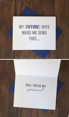 My future wife made me Will you be my best man card #weddings #wedding #marriage #weddingdress #weddinggown #ballgowns #ladies #woman #women #beautifuldress #newlyweds #proposal #shopping #engagement