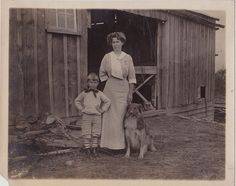 Vintage Antique Photograph Mom With Little Boy & Puppy Dog By Old Barn