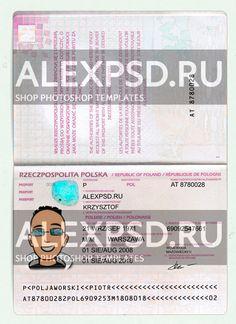 Poland passport - ALEXPSD Passport Template, Psd Templates, Photoshop, Author, Names, Poland, I Want You, Writers