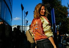 Elizabeth von Guttman in a vintage jacket
