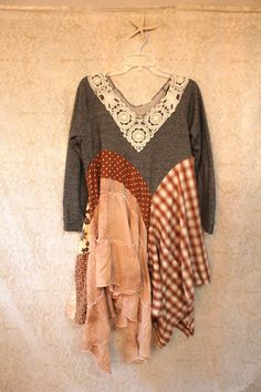 REVIVAL Boho Fall/Winter Knit Shirt, Shabby Chic Romantic, Bohemian Junk Gypsy Style, Mori Girl, Lagenlook, Cowgirl Country Girl Chic, Free People Style, Anthropologie Inspired