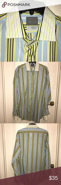 💲⬇️💙THOMAS DEAN💙Striped Long sleeve Dress Shirt EUC💙THOMAS DEAN💙Striped Long sleeve Dress Shirt. Lime Green/ Blue/ White / Gray/ Black stripes. Size- XL.  100% Cotton.  Original cost $110 Thomas Dean Shirts Dress Shirts