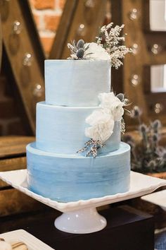 Something Blue, Ombre Style - Watercolor Wedding Cakes Might Be the Next Big Wedding Trend - Southernliving. This graceful gradient could easily be your something trendy and new or something blue. Two birds, one stone. Wedding Cake Designs, Wedding Cake Toppers, Watercolor Wedding Cake, Blue Cakes, Dusty Blue Weddings, Cake Trends, Food Trends, Wedding Cake Inspiration, Wedding Trends