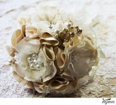 Bridal Brooch Bouquet, Champagne Brooch Bouquet with Jeweled Fabric Flowers, Wedding Brooch Bouquet