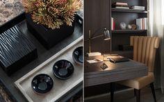 soft deep neutral shades and elegant accessories | home office | study || Chelsea Interior Design | Laura Hammett