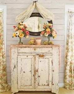 beautiful distressed painted furniture piece