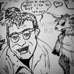 Detail from my last post.  Would anybody like to buy a... van?  I actually like vans.  May dad usually had one when i was growing up.  He wasn't a molester or anything.  Too much booze that needed to be drunk.  #blackandwhite #ink #vansalesman #vanherpes #foodinyourmouthwhilsttalking #youreagoat #sketchbook #sketchboom #mcdowell