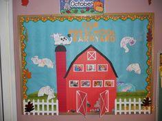 Our Preschool Barnyard bulletin board Farm Animal Crafts, Farm Crafts, Daycare Crafts, Preschool Activities, Preschool Curriculum, Farm Bulletin Board, Preschool Bulletin Boards, Farm Classroom Decorations, Classroom Themes