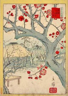 Hiroshige Flowering Plum. Japanese woodblock print.