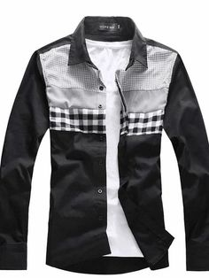Men's Big And Small Grid Patched Shirt