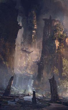 Tagged with art, fantasy, science fiction, fantasy art; Fantasy SF Art I Liked (Various Artists) Concept Art World, Fantasy Concept Art, Fantasy Artwork, Final Fantasy, Anime Fantasy, Fantasy Places, Fantasy World, Fantasy Landscape, Landscape Art