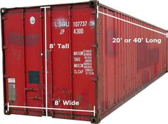 "container dimensions the ultimate guide to shipping container homes 8'wx8'hx20-40'l can be put on temporary or permanent foundation OR put on a flatbed and moved like a ""tiny house on wheels"". Weight w/ shipping containers may be considerably more than typical tiny homes on wheels and unless you opt to ""cut out the roof"", your ceiling height is only 8' not allowing for a loft area."