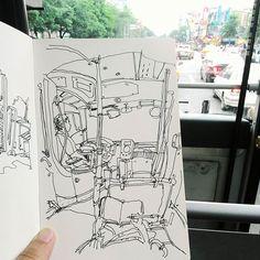 雨停了 到大佳河濱公園看龍舟 看到時代力量壓軸滑過眼前,奪標😂 #murmur #vscocam #urbansketch #urbansketchers #moleskine #sketchbook #sketch #diary #drawing #art #painting #linedrawing #black #sketchoftheday #dailysketch #stationery #taiwan #taipei #bus #文房具 #橘枳 #繪日記 #絵日記 #手帳 #橘逾淮為枳 #公車