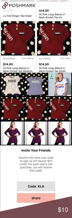$10 off code KLA Down load app called Fashion stash $10 in credits but anything from makeup , clothing , pink wear , & etc with my code get $10 in free credits use code KLA free $10 get these shirts for only $4 or below with my code KLA free $10 credit on fashion stash app only sign up hurry first come first serve ! Not selling on here PINK Victoria's Secret Tops Tees - Long Sleeve
