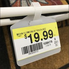 These Declined Gondola Wire Shelf Hang Tags are one of several Basket Tag designs appropriate for this situation. While this version accepts self-adhesive labels, alternates support drop-in or slide in plain paper labels, the choice is yours Label Design, Store Design, Price Signage, Price Tag Design, Gondola, Shop Price, Wire Shelving, Hang Tags, Shelf