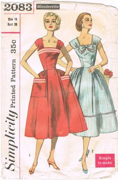 Simplicity 2083 - Vintage 1950s Sewing Pattern - Slenderette - Misses And Womens One-Piece Dress    Size 16 - Bust 36    Cut    Envelope is in okay