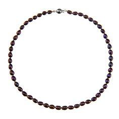 Perlový náhrdelník z oválných perel – černá
