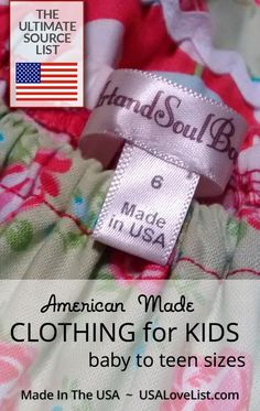 Children's clothing  Made in USA
