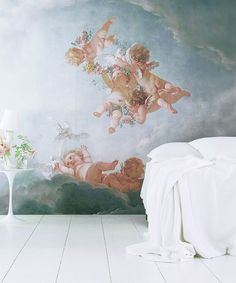 Exclusive Cherubs wallpaper fresco - 10 off