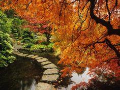 Autumn Colors in Butchart Gardens, Victoria, Vancouver Island, British Columbia, Canada Photographic Print