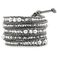 wrap bracelet  Pearls Ball Beads bracelet leather wrap  With Clear Crystal Beads  5X Wrap Handmad Bracelet With 925 Silver Button L121 on Etsy, $18.20