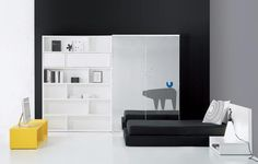 black, white pop of yellow. cool and elegant teen bedroom decoration ideas with cool furniture from Spainish furniture manufacturer BM. Most teenagers like the modern style and elegan.mereka also need to have certain things like a good wardrobe, a desk, some shelves and a bed