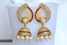 Ruby Red Matt Gold Jhumka - AristaBeads Jewelry - 1