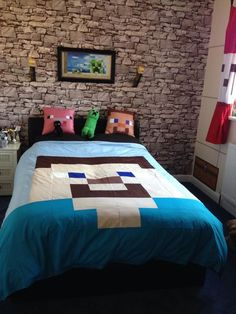 The best way to Embellish Your House in Minecraft - Dova Home Minecraft Bedding, Minecraft Quilt, Minecraft Room, Minecraft Projects, Minecraft Stuff, Minecraft Ideas, Minecraft Party, Cool Bedrooms For Boys, Kids Bedroom