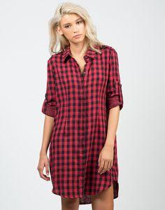 Oversized Checkered Shirt Dress – Tops – 2020AVE