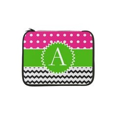 "Pink Green Polka Dot Chevron Monogram 13"" Laptop S on CafePress.com"