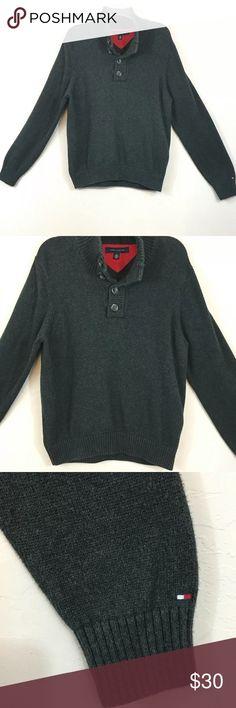 2c19920998fb10 Tommy Hilfiger Gray V-neck Pullover Sweater Large Mens Tommy Hilfiger Gray V -neck