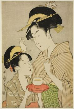 Kitagawa Utamaro Title:Two Beauties, One Holding a Teacup, the Other Fingering her Hairpin  Date:1797