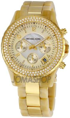 2609c577ae89 Michael Kors Madison Horn Acetate and Gold Tone Chronograph Ladies Watch  MK5417