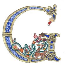 Creation from an unfinished caption XIe s. Avranches - Art and Literature Celtic Fonts, Celtic Art, Medieval Manuscript, Medieval Art, Illuminated Letters, Illuminated Manuscript, Illumination Art, Beautiful Calligraphy, Calligraphy Letters